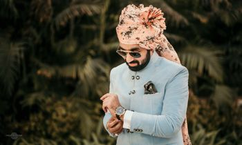 Powder blue sherwani with peach floral safa