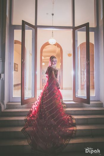 Wine Bridal Lehenga with Train Dupatta