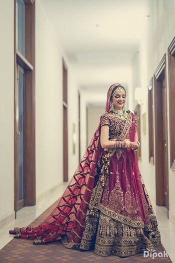 Wine Colour Royal Wedding Lehenga with Modern Train