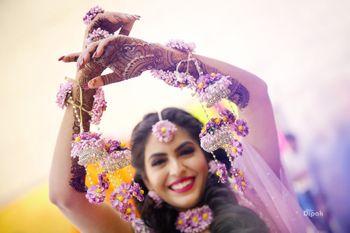 Happy bride shot in lavender kaleere