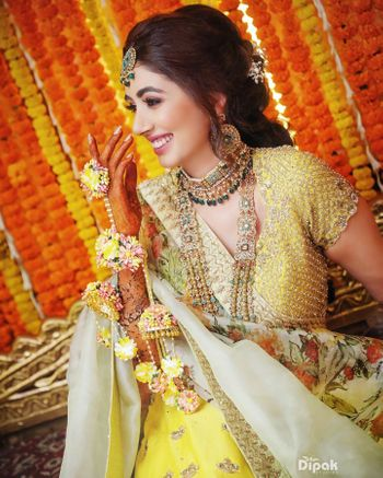 A happy bridal shot from a haldi function.