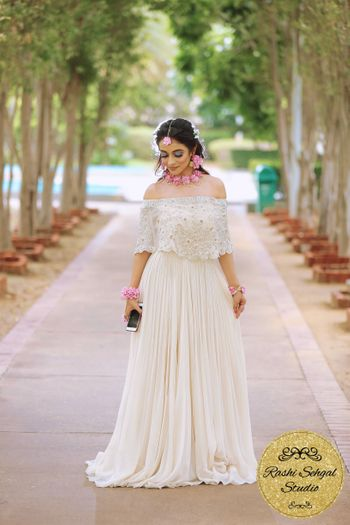 Offshoulder white gown for mehendi