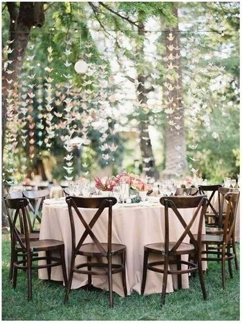 Engagement decor brunch idea with table setting and floral strings