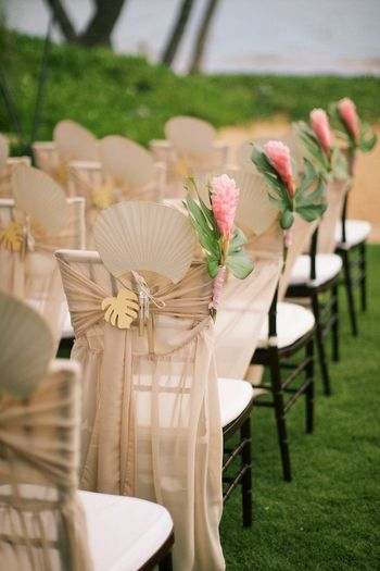Photo of Morning wedding idea with fans in chair decor