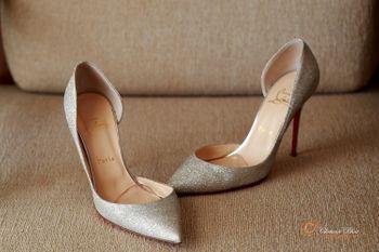 Silver Louboutins for Bride Under Lehenga