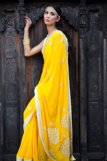 Photo of haldi yellow saree