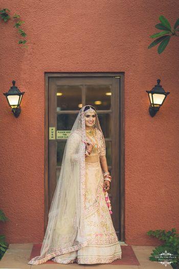 Offbeat pastel bridal lehenga