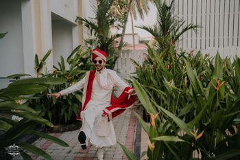 A dancing groom portrait.