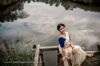 Photo of simple south indian bride in an off white saree