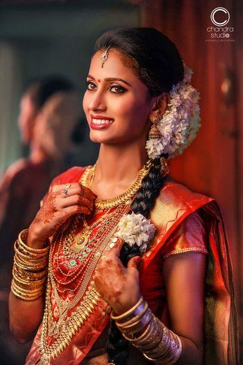 South Indian bridal braid with gajra
