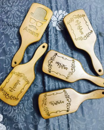 Personalised hairbrushes for groomsmen and bridesmaids