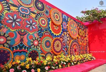 Colorful floral mehendi photobooth