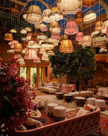 Interior decor with lampshades on the ceiling