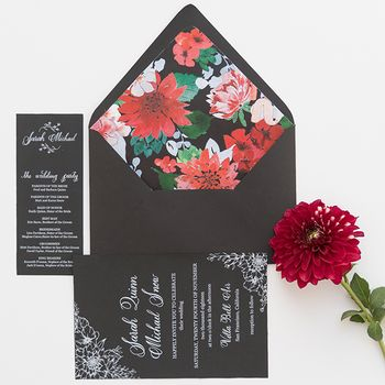 Photo of Modern floral print invites in black