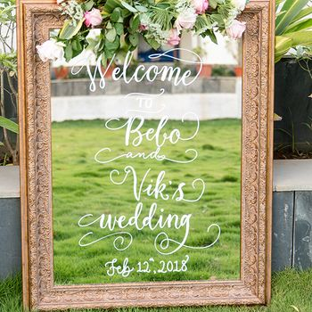 Welcome mirror sign for entrance decor