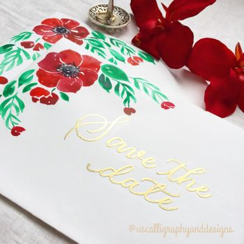 Photo of Pretty floral watercolor invite for wedding