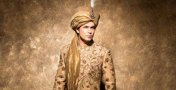 Gold embroidered sherwani with beige safa