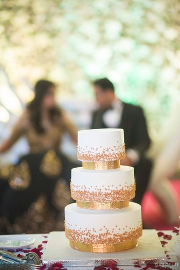 3 tier rose gold engagement wedding cake