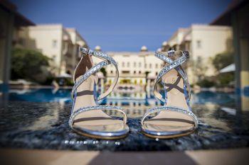Silver sparkly bridal heels