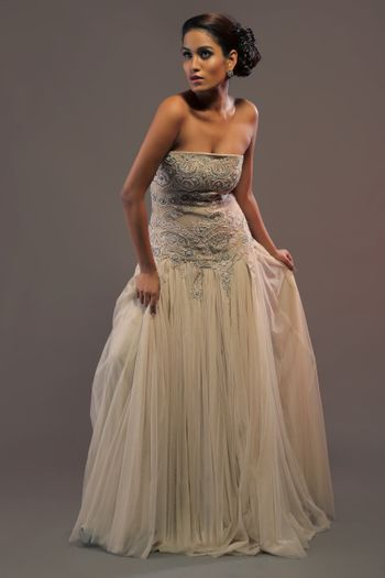 Photo of strapless gown