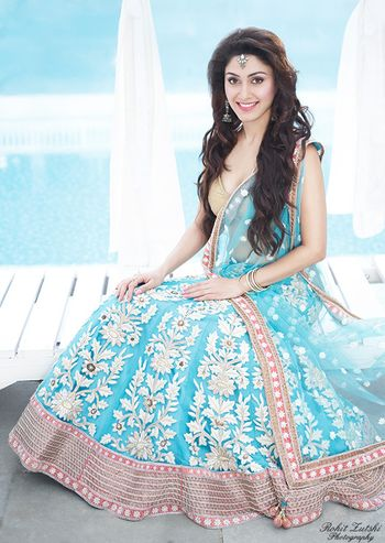 Photo of Light Blue Lehenga with Thread Work and Peach Border