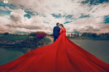 Dramatic bollywood pre wedding shoot with flowing gown