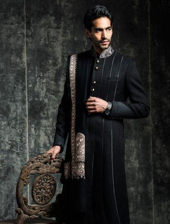 nehru collar black sherwani
