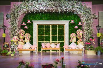 Floral Ceiling Decor with Pastel Color Seating