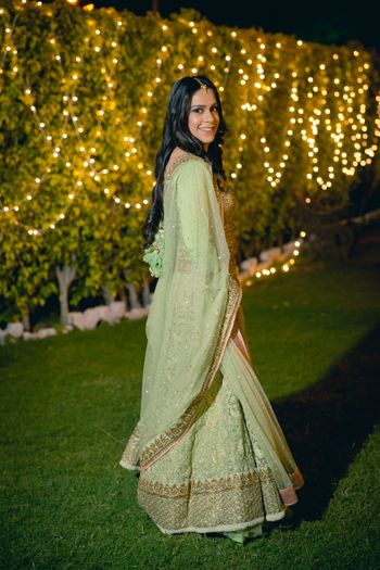 Pastel Green Tissue Lehenga with Gold Border
