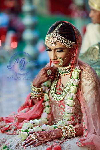Photo of Wedding day bridal shot with layered bridal jewellery