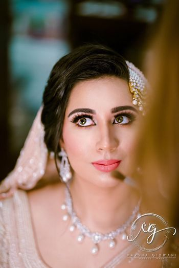 Simple dewy bridal makeup