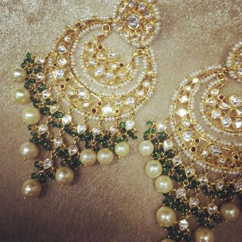 polki and pearl chaand baali earrings