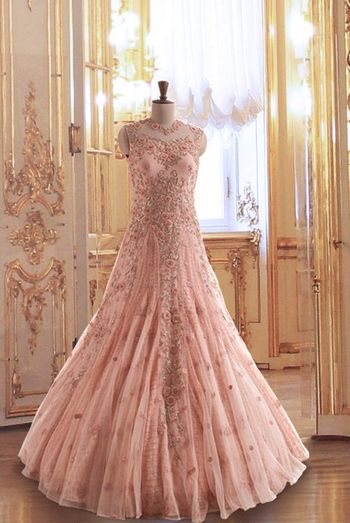 embroidered blush pink floor length fown