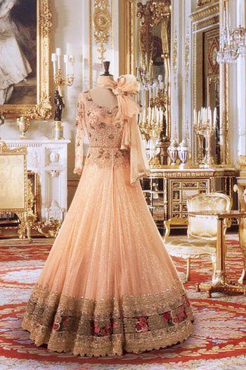Photo of peach floor length anarkali gown