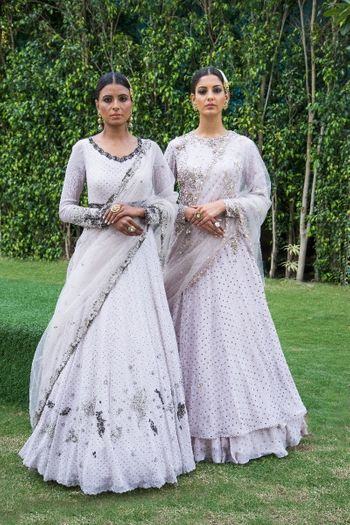 Photo of Light grey flowy lehengas for sister of the bride