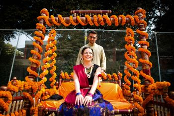 Bride on mehendi swing