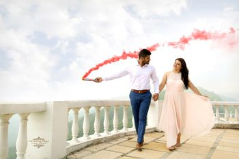 Pre Wedding Shoot with Red Smoke Bomb