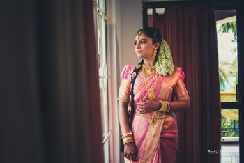 kanjeevaram silk saree on a south Indian bride