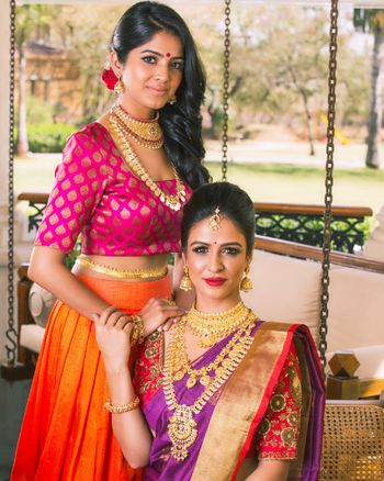 South Indian bridal look with jewellery for bride and bridesmaid