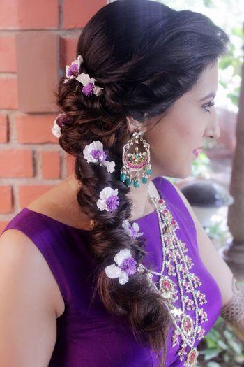 Mehendi braid with purple flowers