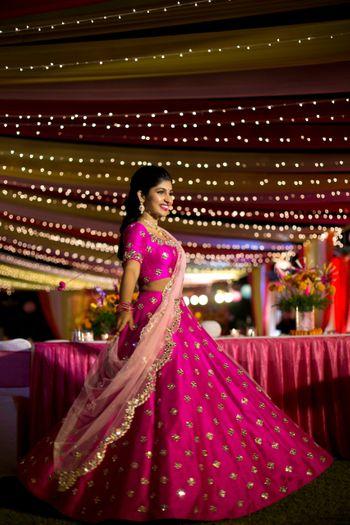 Mehendi outfit pink lehenga with scalloped edge dupatta