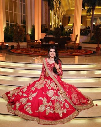 Photo of Red sangeet lehenga with kalis
