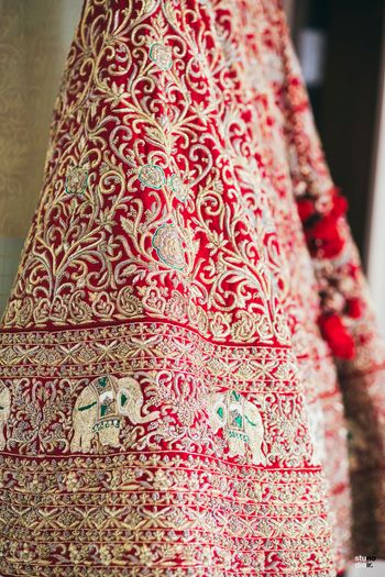 Photo of Unique embroidery lehenga with elephant design motifs