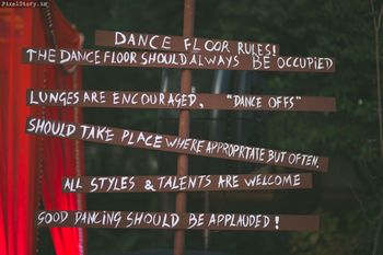 Dance floor rule board