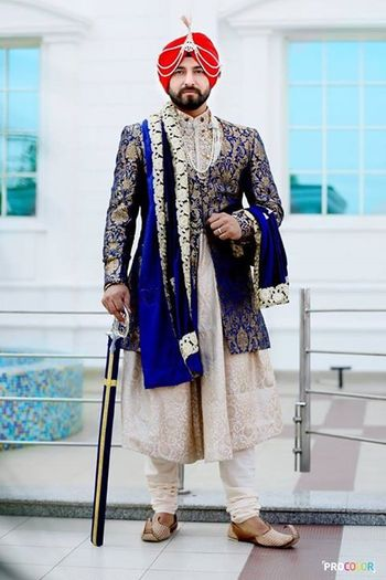 Sikh Groom in Royal Blue Jacket and White Sherwani