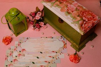 Pretty floral wedding invitation