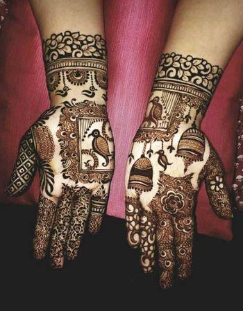 Unique birds bridal motif mehendi for wedding
