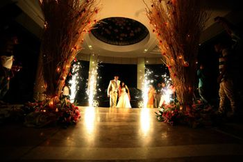 Fireworks at bride and groom entry