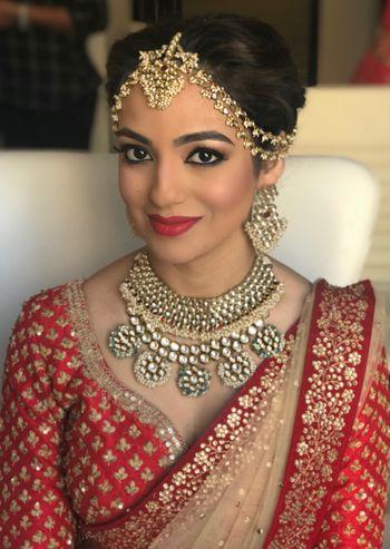 kundan and pearl mathapatti and bridal necklace