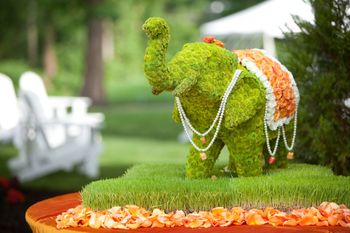 Cute mini green floral elephant